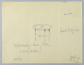 Drawing, Design for Small White Mahogany and Inlay Table, 1900–05