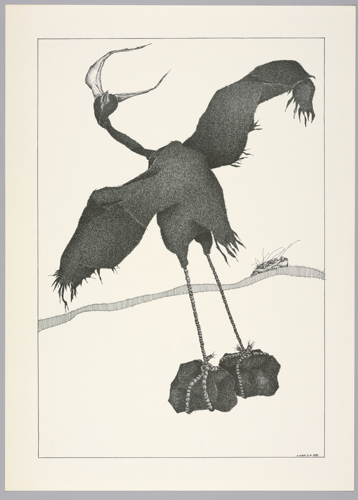 Plate 5, VII of the book, Très Admirable Bestiaire Fantastique (Very Admirable Fantastic Bestiary). Figure of a grotesque goose in surrealist style, its wings outstretched and its legs and feet formed by lengths of rope tied to two rocks. At the head, the eye is closed, and the beak appears open impossibly wide, creating the illusion of forming two horns. Landscape indicated by a curving shaded line in the background. The grotesque face of a human figure peers over the horizon line and is partially in view. Composition contained within a black rectangular frame.