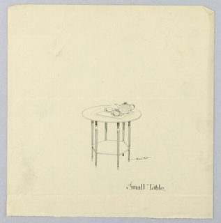 Drawing, Design for Small Table with Round Top with Tea Pot and Tea Cup