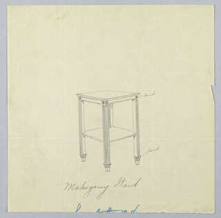 Drawing, Design for Mahogany Stand with Square Top and Square Shelf