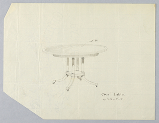 Drawing, Design for Large Round Table with Three Carved Supports, 1900–05