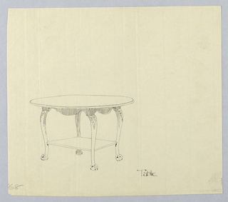 Drawing, Design for Small Oval Table with Square Shelf and Ball-and-Claw