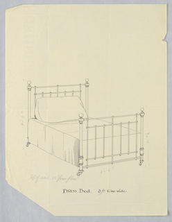 Photograph, Design for Brass Bed on Casters