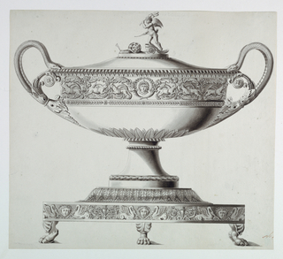 """The body is banded by an arabesque frieze with lions and a medallion portrait in the center. The handles are formed by paired snakes issuing from a bound cluster of leaves. The finial is banded by a frieze of arabesques, vases, half-fish, half-swans, and masks, and rests on animals' feet. Lower right (in red ink): """"No 4 [?]"""" (cut off)"""