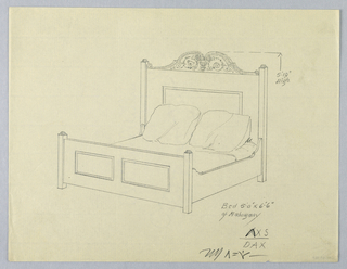 Drawing, Design for Bed with Volute and Floral Decoration on Headboard