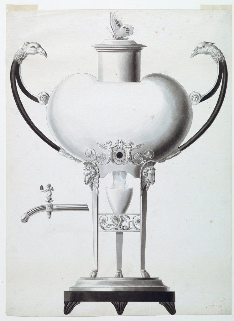 An urn on a circular plinth with four feet. The bottle is heart shaped with a funnel, topped by a butterfly. Two forked handles with eagle heads. The hole for the spout is surrounded by a wreath and by winged half-figures. The egg-shaped receptacle underneath the urn sits atop a tripod.