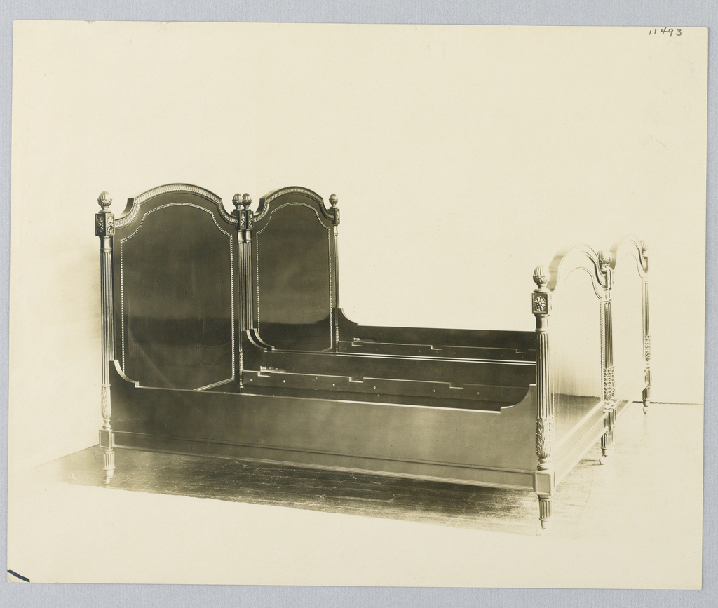 Photogragh, Design for Bed with Fluted Posts and Inlaid Headboard and Footboard