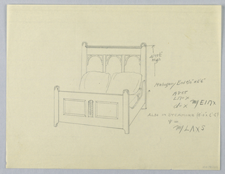 Drawing, Design for Mahogany or Sycamore Bed with Three-Arch Headboard