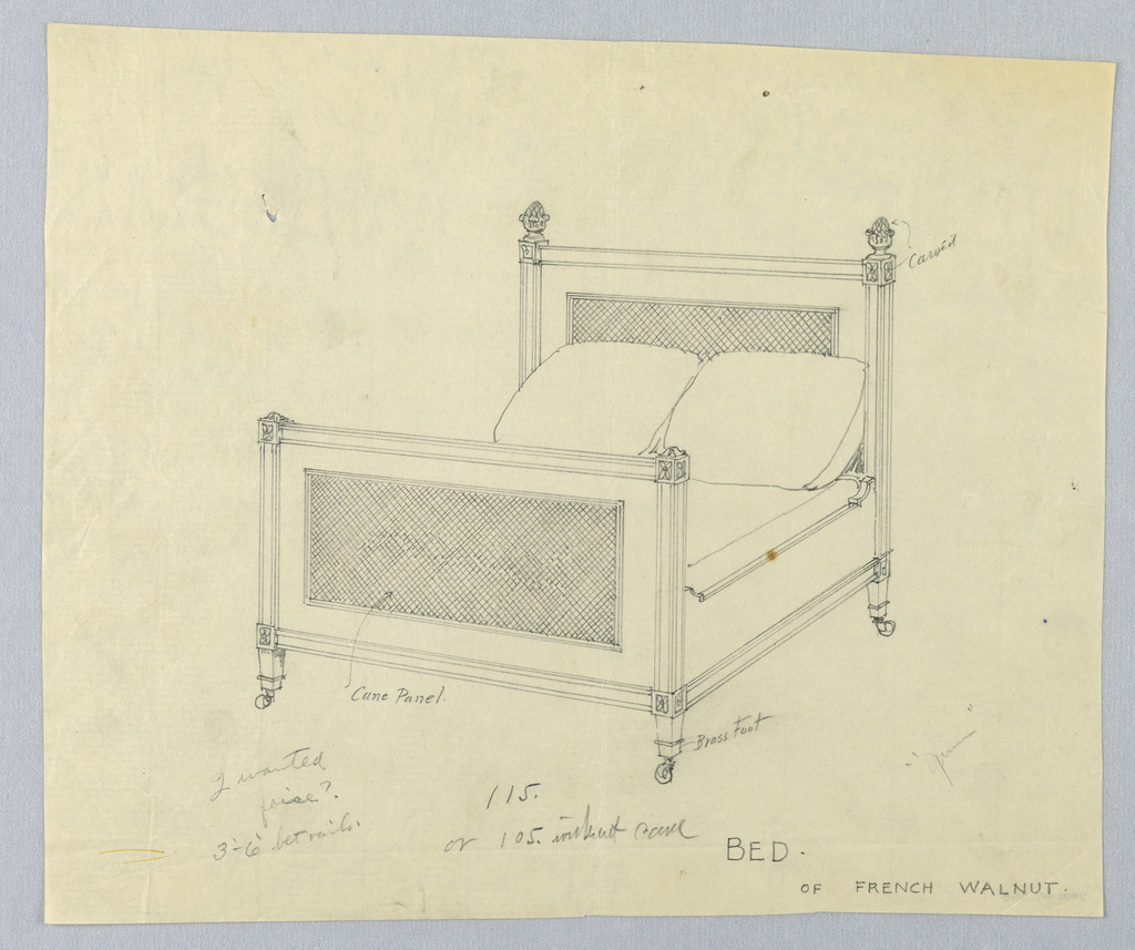 Drawing, Design for Bed of French Walnut with Lattice Work