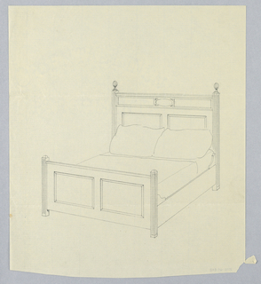 Drawing, Design for Bed with Fluted Posts and Ball Finials