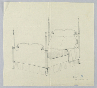 Drawing, Design for Bed with Volutes and Rosettes on Headboard and Footboard