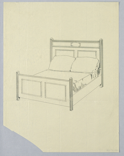 Drawing, Design for Bed with Fluted Square Posts