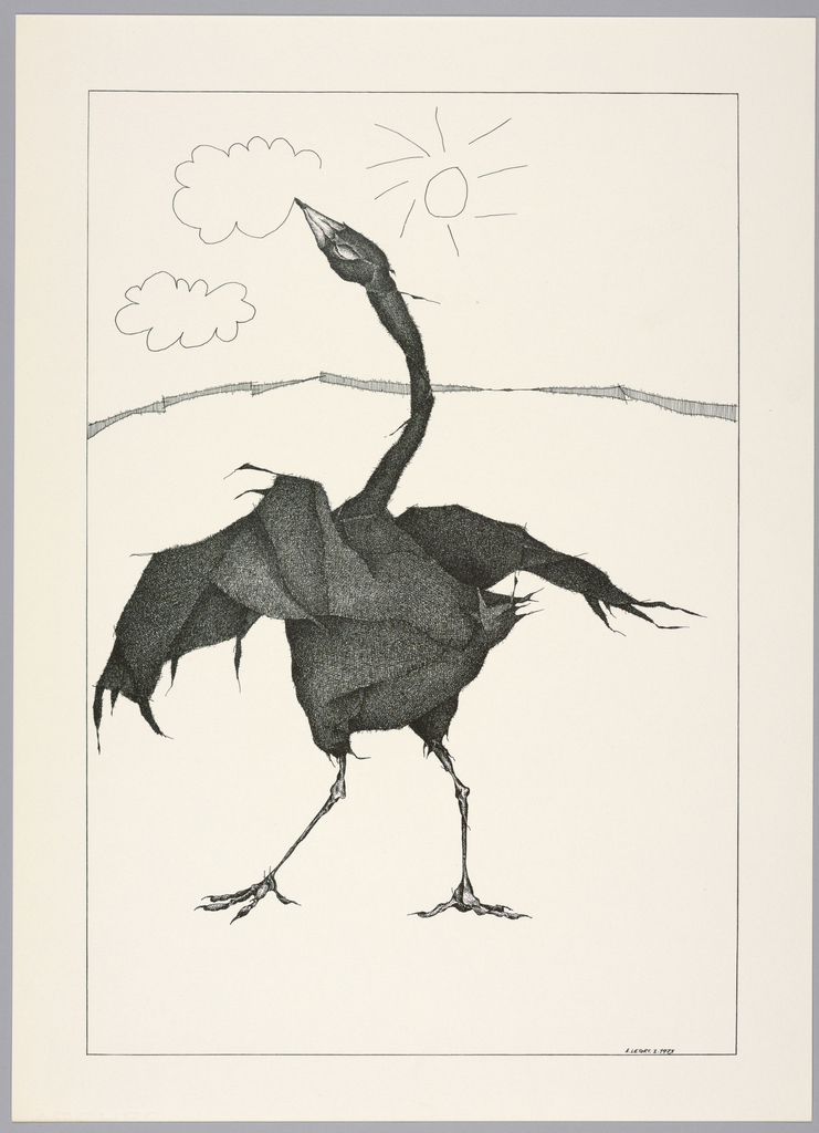Plate I of the book Très Admirable Bestiaire Fantastique (Very Admirable Fantastic Bestiary).  A large standing black bird, viewed from behind, its wings spread and head pointed up. Its beak is made up of a large pencil tip, and cartoonish outlines of clouds and a sun suggest the bird is drawing elements of the sky in the print with its beak. Landscape indicated by a curving shaded line in the background. Composition contained within a black rectangular frame.