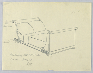 Drawing, Design for Bed with Meanders Carved on Frame and Rosettes Carved on Sides