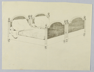 Drawing, Design for Pair of Twin Beds with Lattice Work