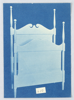 Blueprint, Design for Four-Poster Bed #610 with Ball Finials