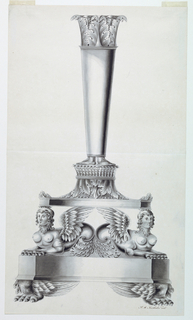 A vase is supported by the bottom parts of the birds. Sea sphinxes crouch upon it and support another base shaped as a capital upside down. The shape of a column with a capital is supported by pairs of human feet.