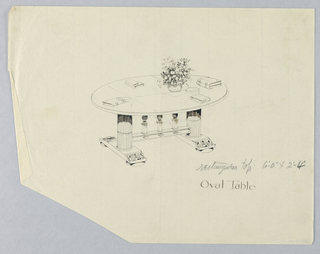Drawing, Design for Oval Table with Pediment atop Two Fluted Columns