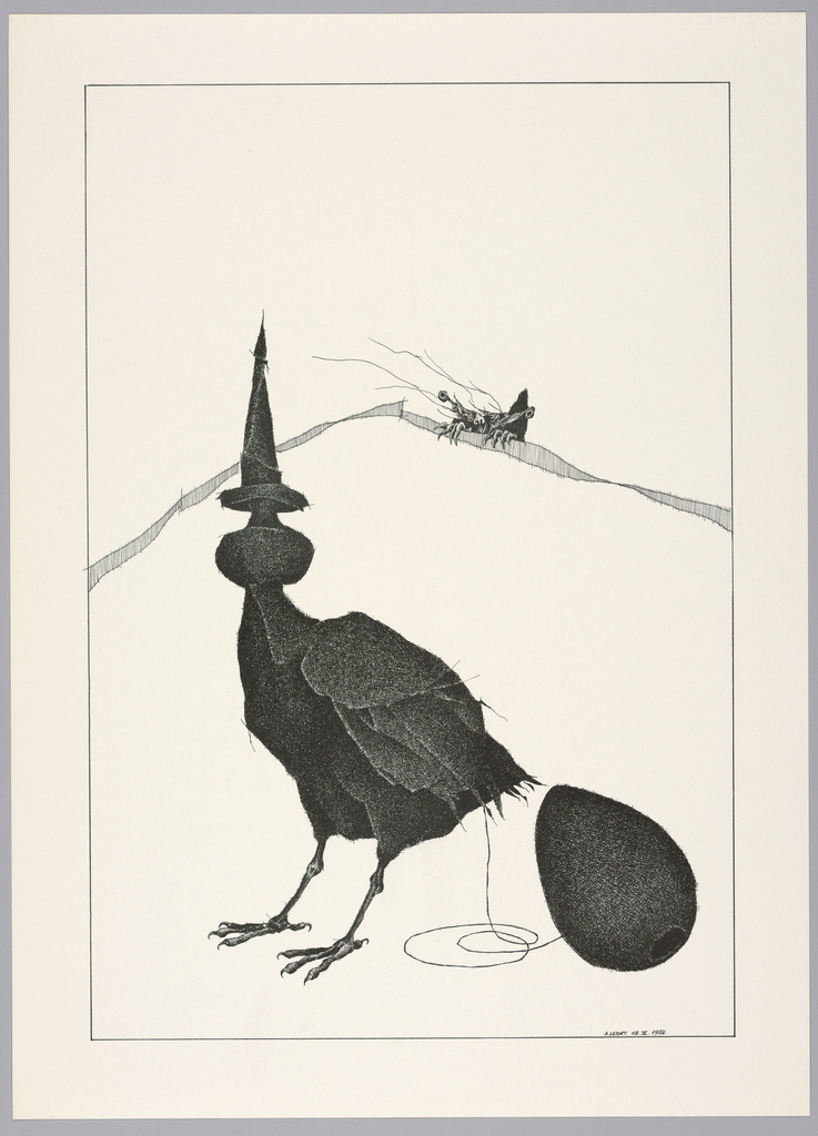 Plate 12, X of the book, Très Admirable Bestiaire Fantastique (Very Admirable Fantastic Bestiary). Hybrid bird figure at center, its torso and legs typical of a bird, with a large ovoid at its neck and its head ending in a long point. At its rear, a string leads to a furry egg-shaped form with a hole at bottom, possibly suggesting a ball and stick toy. Landscape indicated by a curving shaded line in the background. The face and hands of a grotesque human figure peers over the horizon line at right. Composition contained within a black rectangular frame.