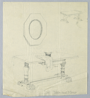 Drawing, Design for Hall Table and Mirror