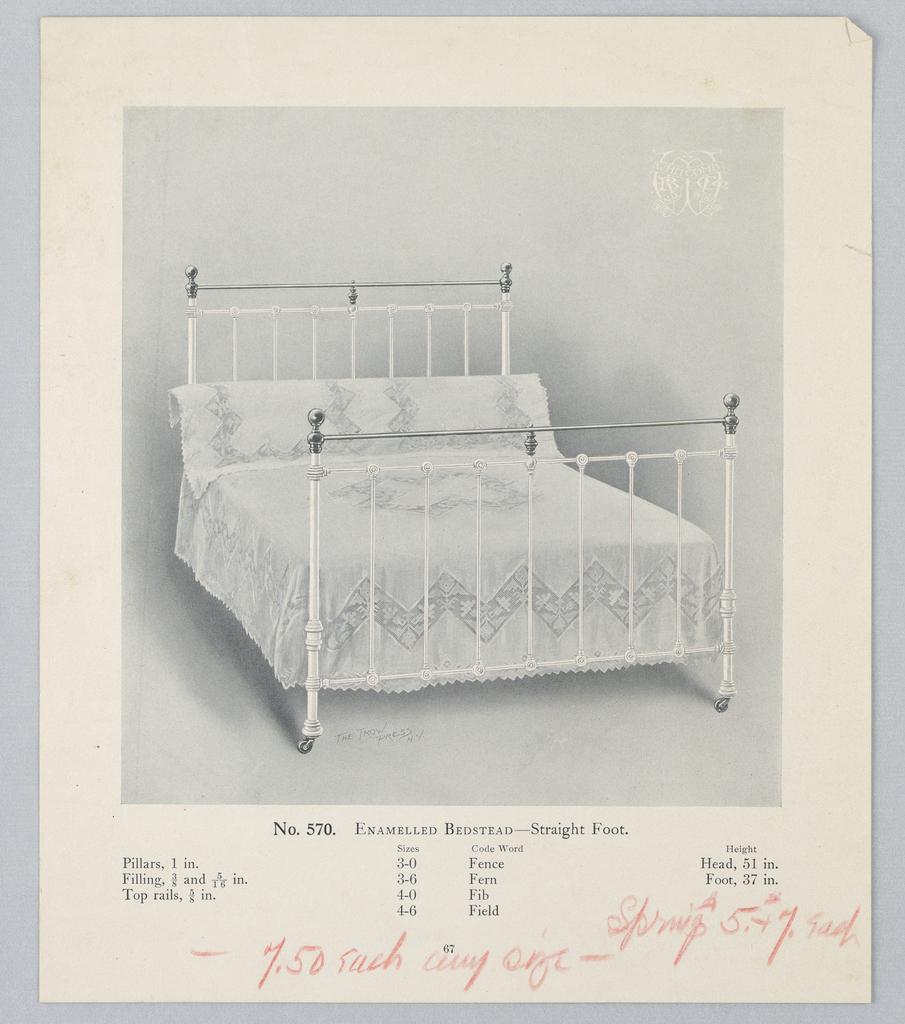 Catalogue Illustration, Design for Enamel Bedstead #570