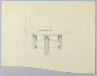 Drawing, Design for Large Round Table with Round Shelf and Fluted Legs