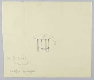 Drawing, Design for Small Round Table with Carved Frieze on Shelf, 1900–05