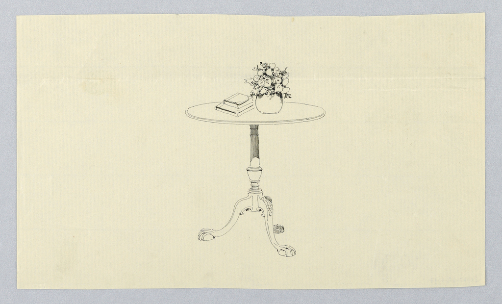 Drawing Design For Small Table With Vase Of Flowers And Books 1900