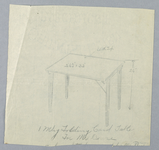 Drawing, Design for Folding Mahogany Card Table