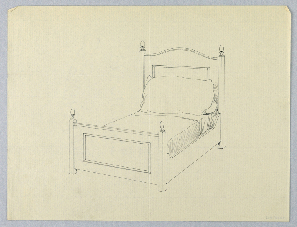 bed drawing. drawing, design for twin bed with decorative carved rectangles drawing