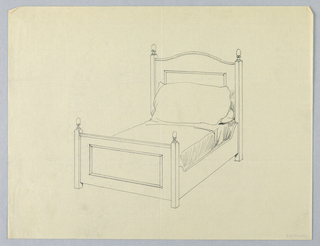 Drawing, Design for Twin Bed with Decorative Carved Rectangles