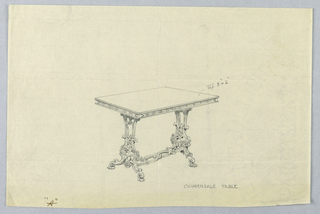 """Drawing, Design for Small Chippendale Table """"A"""", 1900–05"""