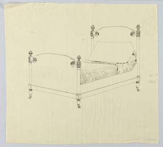 Drawing, Design for Four-poster Twin Bed with Stylized Floral Carving