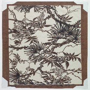 Wisteria blossoms and pine leaves are seen evenly distributed around the entire motif. Thick jagged branches are enhanced by added rigid details to the bark. Tiny tendrils are spiraling around the leaves. Silk threads are added to support the overall structure of the stencil.