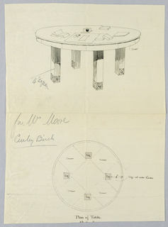 Drawing, Design for Large Livingroom Table in Plan and Elevation, 1900–05