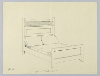 Drawing, Design for Bed with Balustrade on Headboard