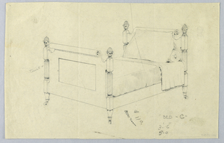 """Drawing, Design for Twin Bed """"C"""" with Volutes and Ball Finials"""