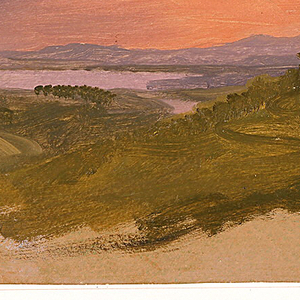 Horizontal view with the center middleground filled by hilly country with an inlet of the Hudson River and right middlegound by the Catskill Mountains below loosely brushed lavender and pink clouds, with bright pink and yellow at right; an irregular bottom margin shows brownish gray grounding color.