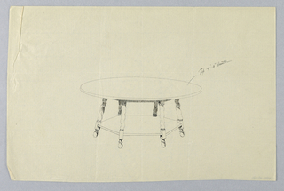 Drawing, Design for Round Table with Sextagonal Shelf and Square-and-Ball Feet