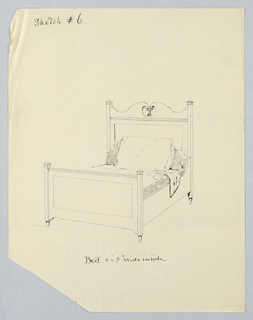 Drawing, Design for Twin Bed #6 with Cut-out Fleur-de-lis