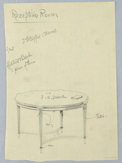 Drawing, Design for Round Reception Room Table