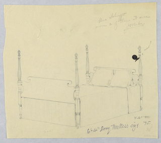Drawing, Design for Four-Poster Bed on Casters