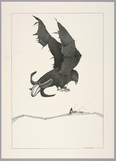 Plate 26, XI of the book, Très Admirable Bestiaire Fantastique (Very Admirable Fantastic Bestiary). Black crow-like bird in flight, wings raised and facing towards the right, at upper center. The tail end of its body takes the form of a peeling banana. Landscape indicated by a curving shaded line in the background. The face and hands of a grotesque human figure peers over the horizon line at right. Composition contained within a black rectangular frame.