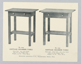 Catalogue Illustration, Design for Cottage Chamber Table with Drawer