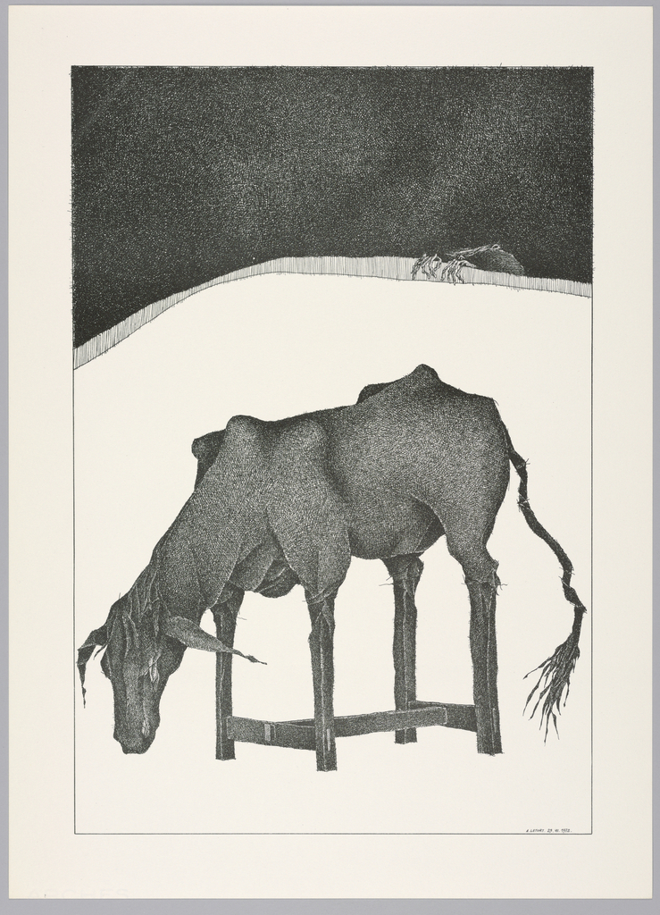 Plate 25, VII of the book Très Admirable Bestiaire Fantastique (Very Admirable Fantastic Bestiary). A hybrid creature with the body of a cow and the legs of a rectangular wooden table, viewed in profile facing left. The cow's head is cast down and has no eyes. Landscape indicated by a curving shaded line in the background with a black sky above. The hands of a grotesque human figure reach over the horizon line at right. Composition contained within a black rectangular frame.
