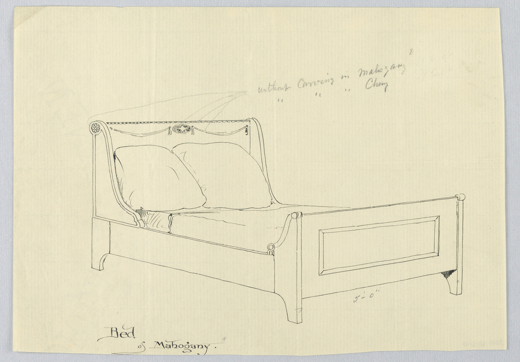 Drawing, Design for Mahogany  Bed with Carved Rosettes on Headboard