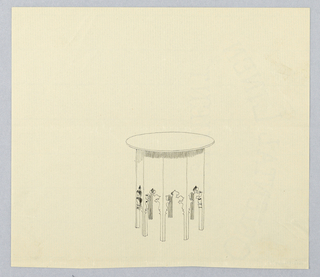 Drawing, Design for Small Round Table with Octagonal Base