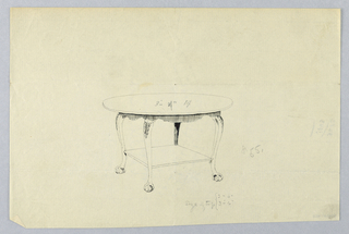Drawing, Design for Round Table with Square Shelf and Ball-and-Claw Feet