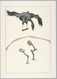 Plate 5, VIII of the book, Très Admirable Bestiaire Fantastique (Very Admirable Fantastic Bestiary). Figure of a bird in flight at upper center, wings outstretched and head pointed down, with beak open. Extending from the bird's legs is a trapeze bar. Below, two large bird's legs point upwards, breaking through a plain white surface, cracks radiating outwards. Landscape indicated by a curving shaded line in the background. The face and hands of a grotesque human figure peers over the horizon line at right. Composition contained within a black rectangular frame.