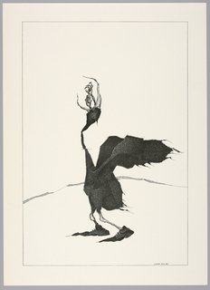 Plate 18, II of the book Très Admirable Bestiaire Fantastique (Very Admirable Fantastic Bestiary). A black bird viewed in profile, facing the left, its head pointed up and its wings raised behind it at right. The bird wears furry sneakers at its feet with laces. From its curved, open beak, two small arms with claw-like hands emerge. Landscape indicated by a curving shaded line in the background. Composition contained within a black rectangular frame.